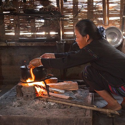 Woman making unclean cooking