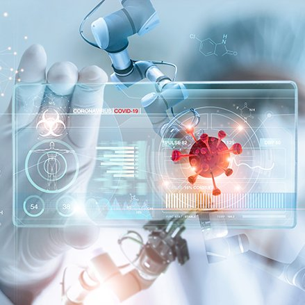 Diagnose checking coronavirus or covid-19 testing result with virtual screen in laboratory, Inhibition of disease outbreaks and Medical technology. © By PopTika/Shutterstock